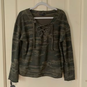 Tops - Camouflage Green Lace up Top